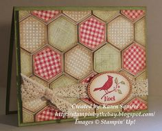 Stampin' By The Bay: Christmas Six-Sided Sampler Card.   SU Hexagon Punch & Six-Sided Sampler quilt.