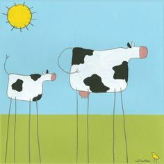 Stick-leg Cow Canvas Reproduction