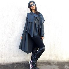 Asymmetric Cardigan /Asymmetrical Long Tunic / Long Sleeve Cardigan / Extravagant Tunic with Leather Vest TC04