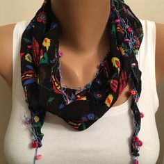 A personal favorite from my Etsy shop https://www.etsy.com/listing/275165180/black-wooden-bead-edge-cotton-scarf