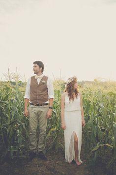 Nathan + Meghan - Brooke Courtney Photography / bride + groom / wedding dress / floral crown / vest / bow-tie / outdoor portrait /