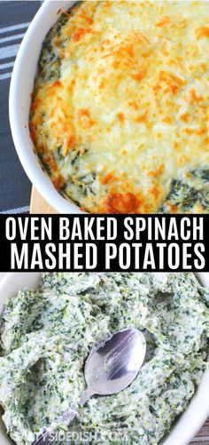 Spinach Mashed Potatoes Recipe Combining creamy delicious mashed potatoes and healthy sweet spinach, is a dialed up gourmet side dish that takes no time at all to make. Spinach Mashed Potatoes Recipe, Spinach And Potato Recipes, Healthy Mashed Potatoes, Healthy Vegetable Recipes, Mashed Potato Recipes, Spinach Dip, Vegetarian Recipes, Cheap Side Dishes, Easter Side Dishes