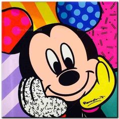 Mickey Mouse pop art by Romero Britto Pop Art Disney, Retro Disney, Mickey Mouse And Friends, Mickey Minnie Mouse, Mickey Mouse Kunst, Tableau Pop Art, Easy Canvas Art, Arte Country, Disney Kunst