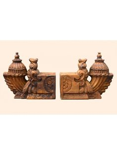 Wooden Bhodhil WallBrackets With Wax Brown Wooden Brackets, Wooden Doors, Wall Brackets, Wood Carving Designs, Wood Carving Art, Door Design Images, Wooden Pillars, Pooja Room Door Design, Wooden Elephant
