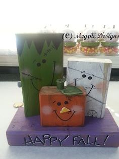 Make these Happy Halloween Fall Characters with a 2x4 and a few small wood pieces....add a little more of a twist to these and we have a deal!