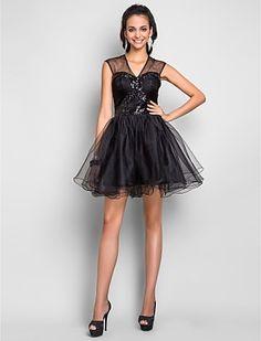 Free Measurements ! A-line V-neck Short/Mini Tulle Cocktail/Prom Dress - USD $ 107.99