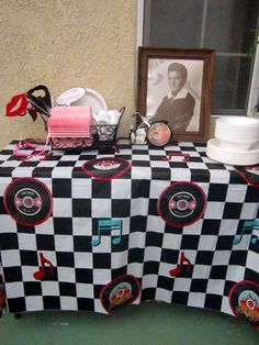30th Birthday, Pinup Party Theme, Elvis, photo props, napkins, plates