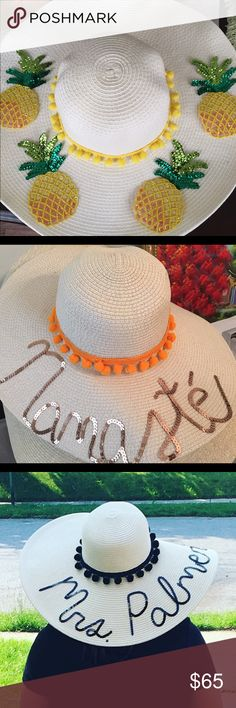 Glam Hats by Martha Glam Hats are floppy sun hats with Pom Pom & sequin. One size fits most. Made for sun protection & a little Glam under the sun Accessories Hats Silly Hats, Fancy Hats, Pom Pom Sandals, Floppy Sun Hats, Diy Hat, Beach Accessories, Love Hat, Pom Pom Hat, Summer Hats