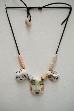 Clown 3 face necklace