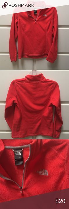 The north face 1/4 zip pullover Great color! Coral 1/4 zip pull over from the north face. Great for fall/winter The North Face Tops Sweatshirts & Hoodies