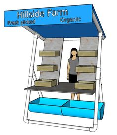 Build A Mobile Produce Stand - Hobby Farms These plans for a simple farmers market stand are easy, inexpensive and can be modified as you see fit. Want great tips about arts and crafts? Head out to my amazing info! Farmers Market Display, Market Displays, Boutique Displays, Mercado Madrid, Vegetable Stand, Vegetable Shop, Produce Stand, Craft Fair Displays, Craft Booths