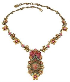 Michal Negrin Splendid Cameo Medallion Necklace with Roses Print Hypoallergenic | eBay