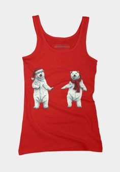The polar bears wish you a Merry Christmas Juniors' Fitted Tank by @savousepate on DBH (various colours) #tanktop