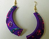 Party Girl Earrings in Purple, Teal, and Pink of Polymer Clay