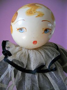 vintage rattles | Vintage Rattle Head Family Celluloid Pierrot Clown Oil Painted Doll ... Pierrot Clown, Clowning Around, Doll Painting, Face Hair, Doll Head, Toy Boxes, Vintage Halloween, Christmas Bulbs, Oil