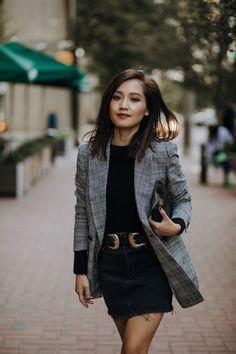 look-blazer-feminino-xadrez-principe-dep-gales-saia-jeans