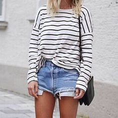 I love extending the life of a good pair of shorts into early fall by pairing them with long sleeved tees.