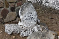 Johnny Ringo - Known associate of the loosely federated group of outlaw Cochise County Cowboys in frontier Tombstone, Cochise County, Arizona Territory. He was affiliated with Cochise County Sheriff Johnny Behan, Ike Clanton, and Frank Stilwell during Tombstone City, Tombstone Arizona, Johnny Ringo, Grave Monuments, Old West Photos, Cemetery Decorations, Famous Graves, Cowboys And Indians, Mountain Man