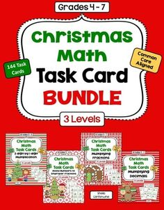 This bundle includes 144 Christmas Math Task Cards in the following sets: 2 Digit by 1 Digit Multiplication  (36 Task Cards), Multiplying Decimals  (36 Task Cards), Converting Mixed Numbers to Improper Fractions  (36 Task Cards), and Multiplying Fractions (36 Task Cards).  All sets have 3 levels to help with differentiation.