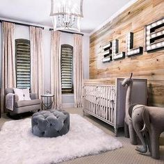 Marquee Lights Over French Nailhead Crib - Country - Nursery