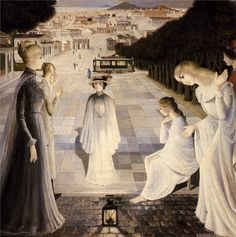 Paul Delvaux - Messaging (1980)