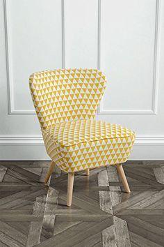 MY-Furniture - Fauteuil d'appoint Retro DELILAH motifs triangles jaunes