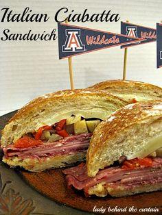 Italian Ciabatta Sandwich - Lady Behind the Curtain Sandwich Shops, Soup And Sandwich, Sandwich Recipes, Sandwich Menu, Italian Recipes, Beef Recipes, Recipies, Burger Buns, Burgers