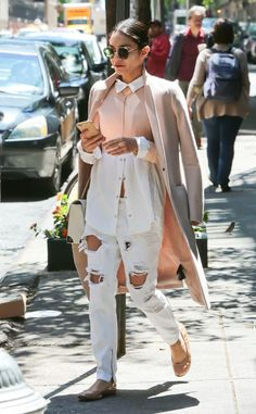 Blushing from Vanessa Hudgens' Street Style  From the top, this collared blouse and blush coat are the picture of sophistication, but paired with distressed jeans and flats, the look takes on a more ethereal vibe.