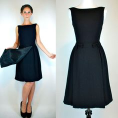 Vintage 50s Black Crepe Mini Dress w/ Boatneck by BluegrassVoodoo