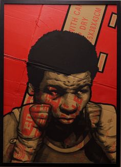 """Xavier CELANIE """"Mike Tyson"""". 72,2 x 52,2 cm. Available on www.stripart.com Boxing Posters, Strip, Mike Tyson, Urban Art, Memes, Pop Art, Street Art, This Is Us, Fictional Characters"""