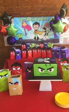 Teen titans go party ideas games meatball toss 6th Birthday Parties, 8th Birthday, Birthday Party Decorations, Teen Titans Tower, Teen Titans Go, Neon Party, Superhero Party, Childrens Party, Baymax