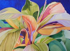 NEW! Art Original Watercolor Painting of Tropical Buttermilk TI LEAVES