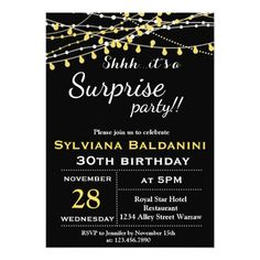 It's a Surprise Party! Birthday Invitation in gold & silver for everyone who enjoys the company of closest friends. Dance Party Birthday, 75th Birthday Parties, 80th Birthday, Birthday Ideas, Birthday Gifts, Surprise Birthday Invitations, Custom Party Invitations, Laser Tag Party, 30th
