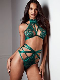 Victoria's Secret Designer Collection strappy bra and high waist thong with Swarovski crystals; modeled by Lais Ribeiro. Timeless glamour and couture details only Victoria's Secret could create. Available at select Victoria's Secret stores worldwide. swarovs.ki/VSdesigner