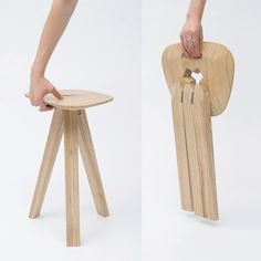 Folding Stool designed by Jack Smith. Graduate project from the Royal College of Art. Here's a stool by Jack Smith that collapses when its seat is lifted. The stool's three hinged legs fit perfectly into a y-shaped hole in the seat, locking them into place. Via www.dezeen.com
