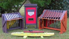 4 Instruments from soundplay.com. Left to right: soprano metallophone, kalimba (thumb piano), soprano marimba; foreground: alligator drum (tongue drum set into a carved statue). Prices (in order) US$2098; US$1590; US$3290; US$1986  Originally Pinned by Alec Duncan of http://childsplaymusic.com.au/