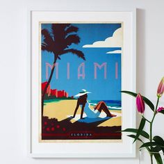 'miami florida' travel poster by i heart travel art. | notonthehighstreet.com