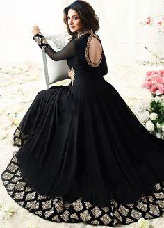 Jennifer Winget Black Faux Georgette Floor Length Anarkali Suit- looks like a kefta from shadow and bone series Designer Anarkali Dresses, Designer Party Wear Dresses, Kurti Designs Party Wear, Indian Designer Outfits, Indian Outfits, Jennifer Winget, Indian Gowns Dresses, Pakistani Dresses, Flapper Dresses
