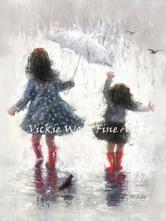 ♥♥♥ Two sisters splashing in the rain together! ♥♥♥  Rainy Day Walk With Sister is a large fine art print of an original oil painting of mine. The original is sold. Image size 11 X 14 on 12 X 18 heavyweight smooth cover paper. Signed and titled on the back.  This print fits nicely in a standard 16X20 mat/glass/frame combo found at stores like Michaels Craft Stores, Hobby Lobby or other home decor shops.  Rainy Day Walk With Sister ships in cello sleeve rolled in a sturdy tube for a ...