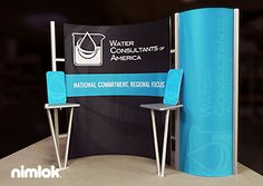 Client Name: Water Consultants | Size: 10x10 | This out-of-the-box exhibit design features a fabric backwall and integrated counter. Contact us today to order!  More 10x10 trade show exhibits on this link http://xtremeexhibits.nimlok.com/custom-trade-show-exhibits/