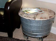 Washtub Wheelies--wahstub side table with storage http://bec4-beyondthepicketfence.blogspot.com/2013/04/washtub-wheelies.html