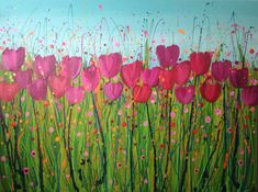 Pink Tulips Acrylic on canvas 100x75cm #flower #tulip #painting #canvas By Leanne Hughes