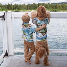 This Adorable Love Story Between Year-Old Boy And His Dog Has An Important Message - World's largest collection of cat memes and other animals Cute Puppies, Cute Dogs, Hawaiian Print Shirts, Instagram Funny, Old Boys, Dog Shirt, Dog Photos, Family Photos, Matching Outfits