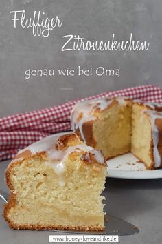 Fluffiger Zitronenkuchen! Kuchen genau wie bei Oma #Zitronenkuchen Lemon Bar, Lemon Desserts, Easy Peasy, Vanilla Cake, Good Food, Pie, Favorite Recipes, Baking, Sweet