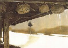 Andrew Wyeth (1917 — 2009, USA) Crescent. 1987 tempera on panel. 40 x 55.6 cm.(14 1/4 x 20 in.) © Andrew Wyeth