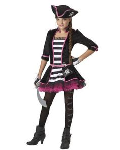 High Seas Pirate Tween Costume Tween girls love to bring attitude to their Halloween costumes, and this unique pirate outfit has some girly details that a future Costumes For Teenage Girl, Teenage Halloween Costumes, Pirate Dress, Hallowen Costume, Halloween Costumes For Teens, Girl Costumes, Costume Ideas, Pirate Costumes, Halloween Ideas