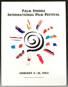 "Cool vintage poster measures 19"" across X 25"" high. It is mounted on foam board and is ready to frame. The poster is in very good condition, with bright colors, clean surface and some light corner bumps. This FIFTH ANNUAL PALM SPRINGS INTERNATIONAL FILM FESTIVAL POSTER is dated January 6 - 16, 1994.    Because it is mounted on foam board, it can not be rolled for shipping. All items are very well packed. All items are sold as is and all sales are final. FREE SHIPPING to lower 48 states ONLY…"