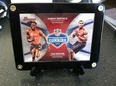 RG III (Robert Griffin III) w/ Cam Newton NFL Scouting Combine RC Card 2012 Bowman w/ Display Stand $11.95