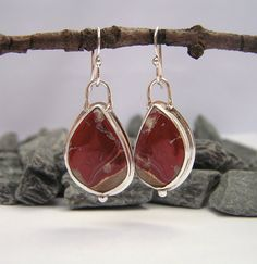 Red River Jasper Cabochon in Argentium  silver- Etsy $84.00