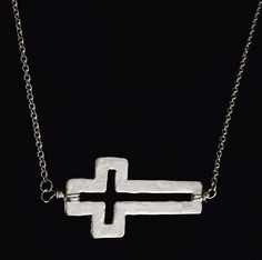 Hammered Cross cutout necklace